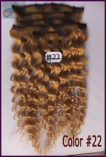 #22 Blonde 180g Curly Weaving Clip In Real Human Hair Extensions Deep Wavy Hair