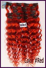 Red 8PCS 180g Curly Weaving Clip In Real Human Hair Extensions Deep Wavy Hair