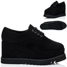 Womens Lace Up Platform Wedge Heel Creeper Shoes Sz 5-10