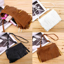 Women's Punk Satchel Tassel Suede Fringe Shoulder Messenger Cross Body Bag  BE