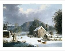 "GEORGE HENRY DURRIE ""New England Farm By A Winter Road"" various SIZES, BRAND NEW"