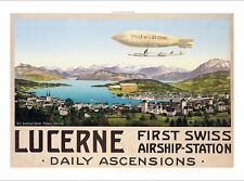 Lucerne, First Swiss Airship-Station NEW CANVAS print of old vintage poster