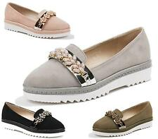 WOMENS FLAT SLIP ON LOW GRIP SOLE SMART LOAFERS WALKING OFFICE CASUAL SHOES SIZE