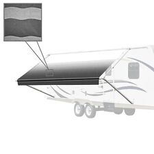 ALEKO Retractable RV or Home Patio Awning Black Stripes Color 13Ft X 8Ft