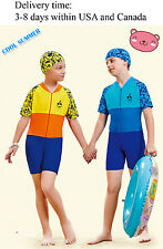 newY0327 one piece Beach swimsuit for boys and girls-1 piece Rash guard with cap