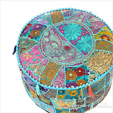 """17 X 12"""" Blue Patchwork Round Ottoman Pouf Pouffe Cover Floor Seating Bohemian B"""