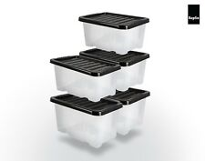 24 Ltr Plastic Storage Clear Box Strong Stackable Container cheapest on ebay