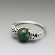 Green Apatite Bali Sterling Silver Wire Wrapped Bead Ring