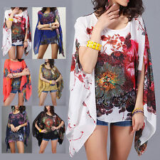 Women Sexy Batwing Sleeve Loose Chiffon Floral Print T-shirt Blouse Tops Clothes