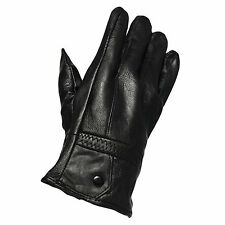 New Mens Fleece Winter Warm Thermal Lined Driving Smart Leather Gloves One Size