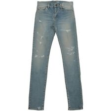 SAINT LAURENT 850$ Authentic Dirty Blue Trash Denim Destroyed Skinny Jeans SS17
