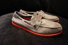 Sperry Top-Sider Slip On Boat Shoes Grey Leather Red Sole Mens sz. 11.5