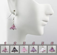 Purple Glass Flower Earrings .925 Sterling Silver Fashion Dangle Choice of Color