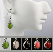 Royal Crown Gemstone Earrings Jade Onyx Coral Rose Quartz .925 Sterling Silver