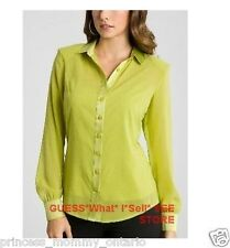 GUESS BY MARCIANO Blouse Silk Shirt Sheer Top w Slip Lime Neon size  XS