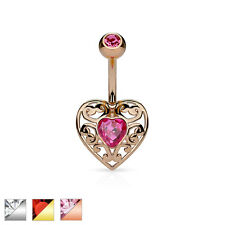 Surgical Steel Filigree Heart Belly Bar / Navel Ring With Heart Crystal Centre