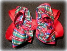 Classic Plaid Red Boutique Hair Bow Girl Big Double Layer Hairbow Holiday School