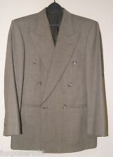 Pierre Balmain Double Breasted 100% Wool Blazer Suits Pants 35S Waist 28 Grey