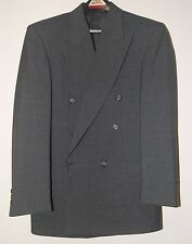 Pierre Balmain Double Breasted 100% Wool Blazer Suits Pants 35S Waist 28 Charcoa