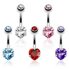 CZ Heart Prong Set Surgical Steel Belly Bar / Navel Ring