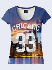Chicago 33 Fashion Womens Blue Number  NWT Tee T-Shirt Short Sleeve Size XS-XL