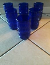 "SET6 FRANCESINHO COBALT BLUE DIAMOND PATTERN JUICE GLASSES TUMBLERS 4.5""  BRAZIL"