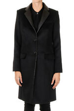 MICHAEL KORS New black Wool blend Coat Long Jacket Leather Details