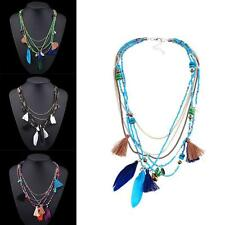 Bohemia Retro Multilayer Chain Necklace Beads Feather Tassel Jewelry Pendant WT