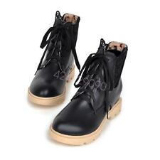 NEW Womens Low Heel Mid-Calf Boots Shoes Lace Up Chunky Chic AU Size YB5091