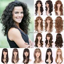 UK Ship Synthetic Hair Wigs Long Curly Wavy Full Head Wigs Cosplay Daily Dress D