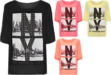 Womens Plus New York Studded Top Sheer Lined Short Batwing Sleeve Ladies  16-30