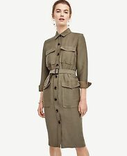 NWT ANN TAYLOR Green Long Sleeves Belted Safari Trench Dress Size 4, 10