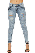 Womens Ripped Torn Distressed Skinny Leg Denim Jeans Low Rise Ladies Trousers
