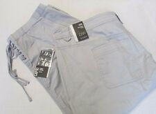 NWT Style & Co Lace Up Capri Pants Gray/Taupe Plus Sizes 22W 24W