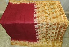 AU Pure silk Antique Vintage Sari  4y Indian Store Su 1575 0t Maroon #ABCOF