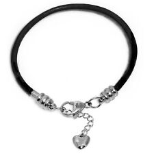 Black Leather Charm Bracelet For Women Surgical Steel Lobster Claw Clasp