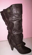 New Women's Dark Brown Faux Leather Knee High Round Toe High Heel Boots Shoes