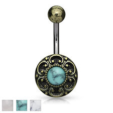 Antique Gold Plated Filigree Surgical Steel Belly Bar With Semi Precious Stone