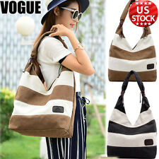 Womens Elegant Stripe Handbags Shoulder Bag Canvas Tote Ladies Travel Messengers