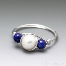 White Pearl & Lapis Lazuli Sterling Silver Wire Wrapped Bead Ring