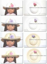 Straw Hat White/Natural Doll Clothes Made For 14 in American Girl Wellie Wishers