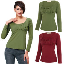 Sexy Womens Long Sleeve Scoop Neck Gathered Ruched Cotton T-Shirt Tops Blouses