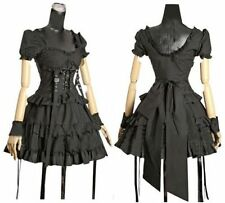 Punk Gothic Ladies Black Short Sleeve Tiered Layered Lolita Retro Cosplay Dress