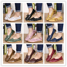 Womens Comfy Leather Casual Shoes Flat Slip  Loafers Walking Flats Moccasin