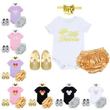 Baby Girls 4PCS Minnie Mouse Outfits Princess Romper Headband Pants Outfit Shoes