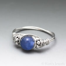Blue Kyanite Bali Sterling Silver Wire Wrapped Bead Ring