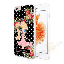 CUTE GIRL PERSONALISED ANY NAME PHONE CASE COVER FOR VARIOUS MOBILE PHONES