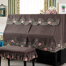 Embroidery Cotton Upright Piano Dust Full Cover Protector Quilted Stool Cover