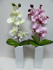 Large Artificial Plants - White or Pink Orchid Flowers in Tall Plant Pot