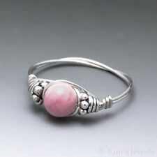 Rhodochrosite Bali Sterling Silver Wire Wrapped Bead Ring